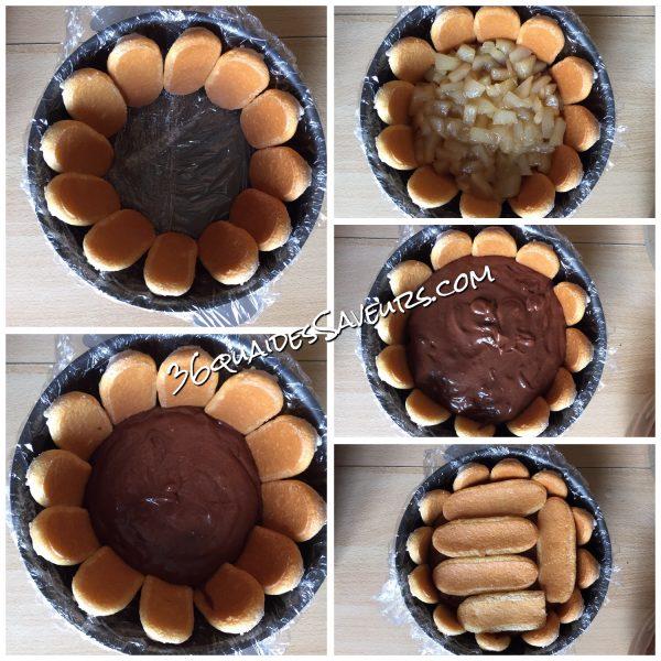 Charlotte chocolat et poires caramélisées