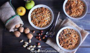 crumble aux pommes fruits secs et caramel