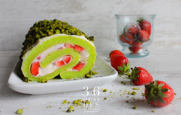 Roulé aux fraises et au mascarpone